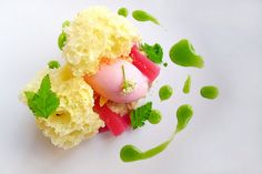 Rhubarb with Meadowsweet , cream cake and sweet cicely. by sped98, via Flickr | dessert + yellow pink green