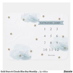 Gold Stars & Clouds Blue Boy Monthly Milestone Baby Blanket Blue Baby Blanket, Soft Baby Blankets, Fleece Blankets, Baby Milestone Blanket, Milestone Blankets, Baby Monthly Milestones, Star Cloud, Gender Reveal Invitations, Twinkle Twinkle Little Star