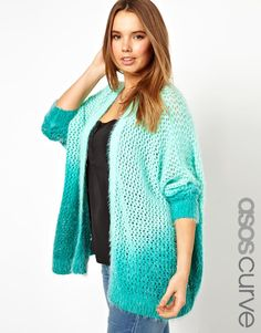 ASOS Curve | ASOS CURVE Cardigan In Fluffy Dip Dye at ASOS