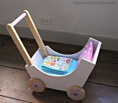 DIY Doll pram or stroller made from wood scraps. Build the pram bottom and ends with 3/4 pocket...