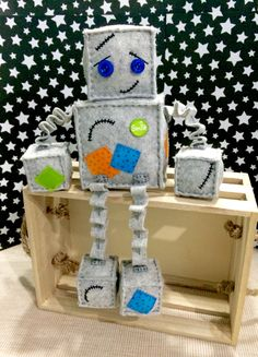 Handmade felt robot made specially for a little who have been good the whole yr.