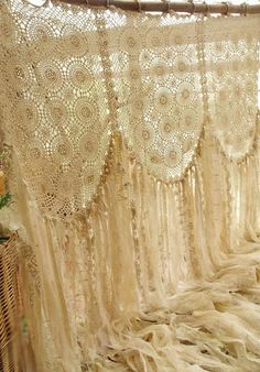 Vintage Stuff Custom Large Boho ROMANTIC Crochet Curtain vintage Lace Garland Wedding Backdrop Cream Gold - -each is artfully hand made,there will be some minor variations due primarily to VINTAGE fabric