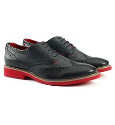 Brocade Oxford Shoe by Rudsak $135 | Rebel brand Rudsak has taken the prim and proper Oxford shoe to new heights of off-beat cool. The leather pair has characteristics of the classic style with a statement twist- Crimson hued soles. Eschew dull footwear forever and wear confidently with slim line suiting or pressed trousers and a denim jacket. | GOTSTYLE.ca