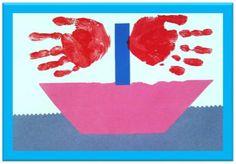 Handprint sailing boat