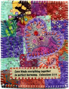 Always loved crazy quilting!Baumcat: Love binds together Patchwork Quilting, Crazy Quilting, Crazy Quilt Stitches, Crazy Quilt Blocks, Quilt Stitching, Art Quilting, Small Quilts, Mini Quilts, Embroidery Stitches