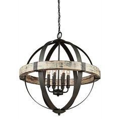 Artcraft Castello Black And Aspen Wood Six Light 26.5 Inch Wide Chandelier On SALE