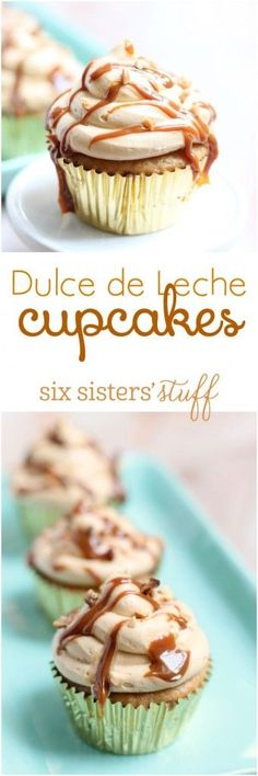 Dulce de Leche Cupcakes on Six Sisters' Stuff | Well, the other day when I was walking past a bakery here in downtown LA and saw through the window some delicious Dulce De Leche CUPCAKES. I couldn't justify paying $5 for a cupcake when I knew I could make some myself, so I went home and starting playing around in the kitchen, and these cupcakes were born. And I may or may not have eaten 4 in one sitting!