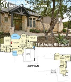This is Awesome! Architectural Designs Rugged Hill Country House Plan 28317HJ has a master-on-main, a great covered porch in back and vaulted interior spaces. Over 2,900 sq. ft. of living space. Ready when you are. Where do YOU want to build? More photos online.