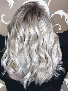 White icy blonde balayage