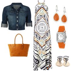 Fun for summer! Love the funky pattern on the maxi and of course, i love the orangey fun accessories!