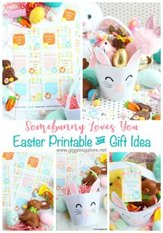 Spread some holiday cheer with an easy and adorable Some bunny Loves You Easter Printable and Easter Bunny Gift idea! #easter #gigglesgalore #gigglesgalorecreates #diy #easterprintable #giftidea #freeprintable #printable