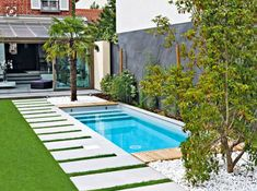 small swimming pool, small backyard patio ideas, ceramic tiles on the grass patch, planted palm trees and bushes garden pool ▷ 1001 + small garden ideas to turn your yard into the best relaxation spot