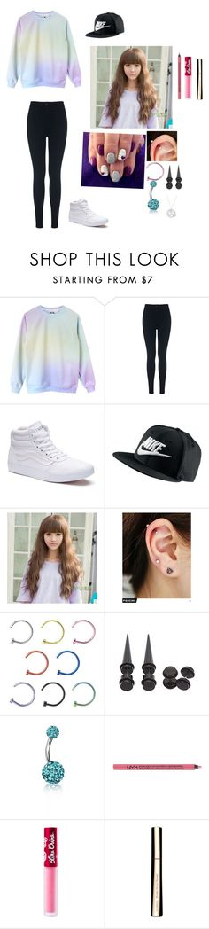 """""""weekend vibes"""" by cassie-marie-1299 ❤ liked on Polyvore featuring Miss Selfridge, Vans, NIKE, Sankins, Pinkrocket, Bling Jewelry, Charlotte Russe, Lime Crime, Clarins and Amanda Rose Collection"""