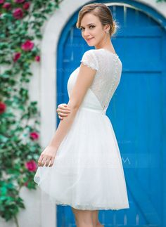 A-Line/Princess Sweetheart Knee-Length Ruffle Zipper Up Cap Straps Short Sleeves Hall Garden / Outdoor Reception General Plus No Spring Summer Fall Ivory Tulle Wedding Dress