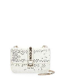 Rockstud Floral Embroidered Mirror Shoulder Bag