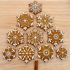 CosmoCookie: Iced Gingerbread Snowflake Cookies and the U. Botanical Gardens CosmoCookie: Iced Gingerbread Snowflake Cookies and the U. Christmas Sweets, Christmas Gingerbread, Christmas Cooking, Noel Christmas, Christmas Goodies, Gingerbread Houses, Gingerbread Cake, Italian Christmas, Christmas Snowflakes