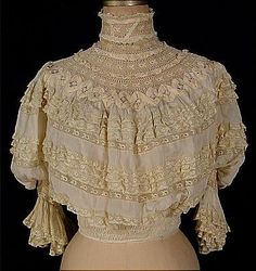 c. 1905 Gibson Girl Pigeon Front Frilly Lacy Silk Blouse. Front