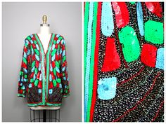 BRIGHT Sequined Beaded Jacket // Bold Color Sequin Embellished Blazer // Retro Neon Green Blue Red Sequin Jacket XL by braxae on Etsy