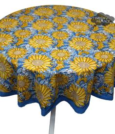 Couleur Nature Yellow And Blue Cotton Round Tablecloth
