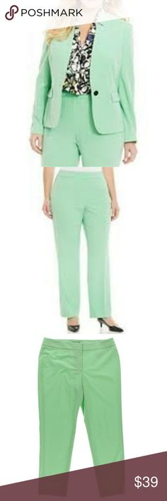 Nine West Pasel Parlour Straight Leg Pants Materials: 63% Polyester, 33% viscose, 4% elastane  Color: Green  No lining  Zip fly with button clasp closure  No pockets  Machine Wash cold  Flat front Nine West Pants