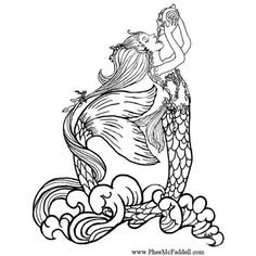 coloring page mermaid drinking rain water free printable realistic coloring book pictures