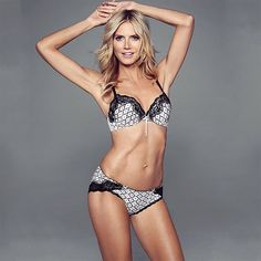 The polished #print Satin & Lace contour #bra, from the Heidi by Heidi Klum range, is an instant hit thanks to it's incredible fit and lift. #heidiklumintimates #lingerie #blackandwhite