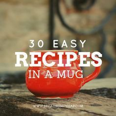 30 easy recipes in a mug! So cheap and yet so good!