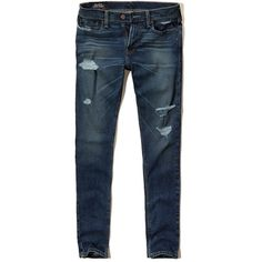 Hollister Super Skinny Jeans ($25) ❤ liked on Polyvore featuring men's fashion, men's clothing, men's jeans, pants, ripped dark wash, mens distressed jeans, mens skinny jeans, mens torn jeans, mens destroyed jeans and mens faded jeans