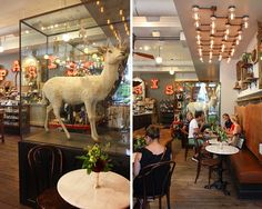 The Paris Market Café is a chic place to stop in for a latte and a macaron while strolling and shopping Savannah!
