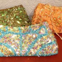 Fun vintage looking, Clutch purses - Brand new Yellow, green, or blue, beaded and shimmery sequin purses. $5 each Bags Clutches & Wristlets