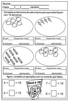 ATIVIDADES DE EDUCAÇÃO INFANTIL  E MUSICALIZAÇÃO INFANTIL: Matemátcia - Educação Infantil Homeschool, Lettering, Education, Words, Class Activities, Kids Learning Activities, Tens And Units, School Notebooks, 1st Grades