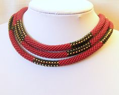 Beaded crocheted rope using Czech seed beads. This lariat - necklace is made from 5400 Czech glass seed beads. The design is so versatile that it can