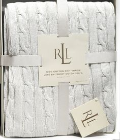 ralph lauren cable knit throw knitted blanket soft cotton white - Cable Knit Throw