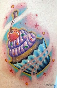 Cupcake tattoo, love the colour combination