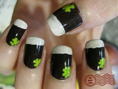 Guinness St. Patty's Day nails.