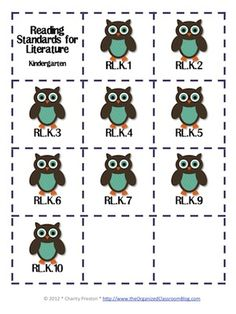 Owl Theme Kindergarten Common Core Lesson Planning Pack    This lesson pack contains everything you will need to teach, track, and display the Common Core State Standards for Kindergarten! With almost 200 pages!  $5.95