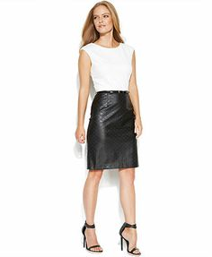 Calvin Klein Dress, Sleeveless Colorblock Belted Faux-Leather Skirt