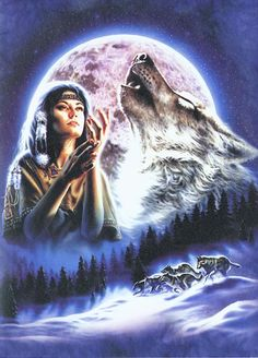 154 best indiens et loups images on pinterest native american art native american wolf art wolf maiden native american indian greeting card m4hsunfo
