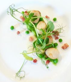 Queen scallops, pancetta, textures of peas #starter #scallops #pea #pancetta #seasonal #local #delicious #perfect #caterers #bestofbritish #events #London #Buckinghamshire #Marlow #corporate #wedding