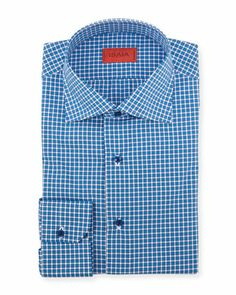 Woven Check Dress Shirt, Bright Blue  by Isaia at Neiman Marcus.
