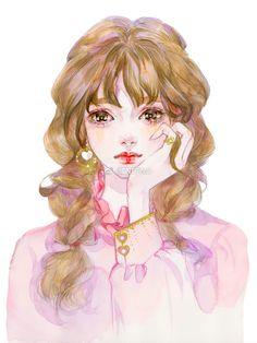 少女心事_涂鸦王国 原创绘画平台 www.poocg.com Face Illustration, Portrait Illustration, Fantasy Drawings, Art Drawings, Cute Girl Drawing, Anime Angel, Star Girl, Beautiful Drawings, Anime Art Girl
