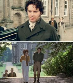 """Pride and Prejudice (1995) Starring: Colin Firth as Mr. Darcy, Jennifer Ehle as Elizabeth Bennet, Jacob Casselden as Robert Gardiner and Joanna David as Mrs. Gardiner. Mr. Darcy: """"Miss Bennet! Forgive me for not receiving you properly just now. You were not leaving?"""" /  Elizabeth Bennet: """"Yes, I'm afraid we must."""" /  Mr. Darcy: """"I hope you're not displeased with Pemberley."""" /  Elizabeth Bennet: """"No."""" /  Mr. Darcy: """"Then you approve of it?"""""""