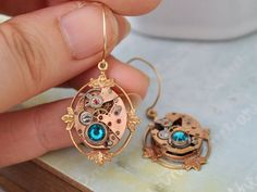 steampunk earrings  FRAGMENTS OF TIME  rose gold 17 by junesnight, $89.50