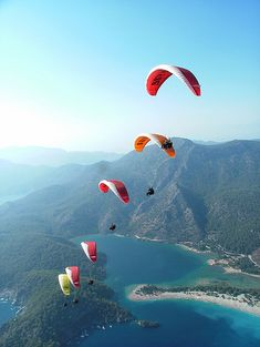 Paragliding overlooking this beautiful landscape should be checked from my bucket list this Oludeniz, Fethiye, Tukey Visit Turkey, Hang Gliding, Paragliding, Turkey Travel, Istanbul Turkey, Strand, Places To See, The Good Place, Beautiful Places