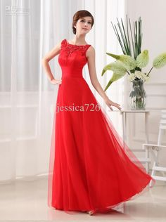 Wholesale Red A Line Evening Dresses Jewel Appliques Formal Tuller Long Formal Wedding Party Dress Prom Gowns, Free shipping, $121.59/Piece   DHgate