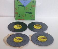 Vintage Thorens Switzerland Music Box Discs Waltz Original Box Set Of 4