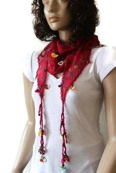 Red Cotton  Turkish Scarf  With Traditional Lace by mmelike