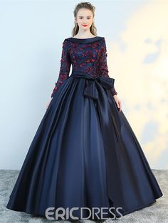 Ericdress Flower Applique Long Sleeve Ball Evening Dress With Bowknot 13222417 - Ericdress.com
