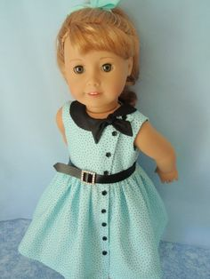 American Girl Doll Maryellen Side Tie Collar Dress 18 Inch Doll Clothes NEW American Girl Doll Maryellen Side Tie by izzadorabelle American Girl Outfits, American Girl Doll Prices, New American Girl Doll, American Doll Clothes, Ag Doll Clothes, Doll Clothes Patterns, American Fashion, Barbie Cartoon, Barbie Wedding Dress