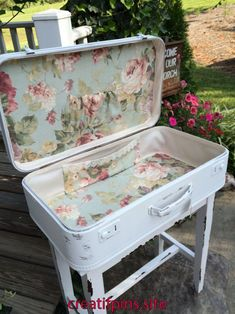 Shabby Chic Furniture: How to Paint and Distress – Shabby Chic Talk Decoupage Suitcase, Suitcase Decor, Suitcase Table, Painted Suitcase, Repurposed Furniture, Shabby Chic Furniture, Painted Furniture, Diy Furniture, Shabby Chic Crafts